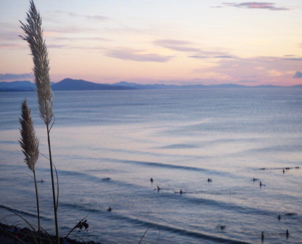 Coucher de soleil sur la Côte des Basques à Biarritz
