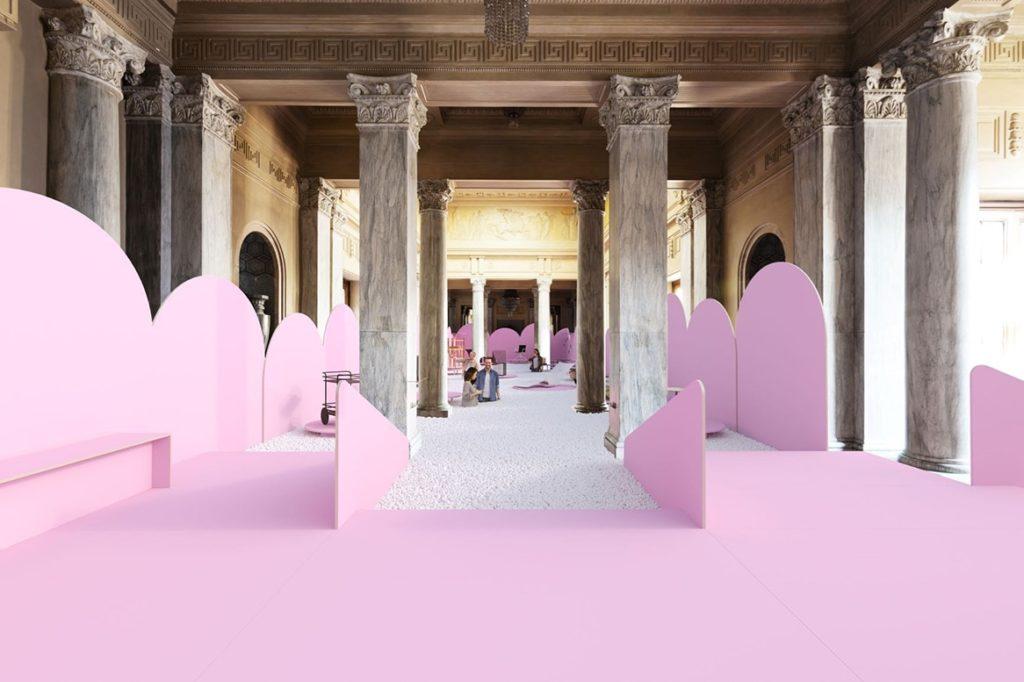 Le Padiglione reale transformé en piscine à cotillons géante pour le Salon du Design 2019